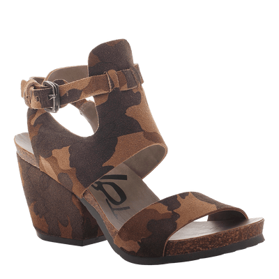 OTBT, Lee, Camo, Square heel sandal with ankle buckle