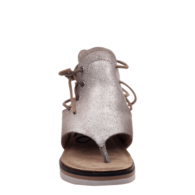 Womens sandal locate in grey silver front view