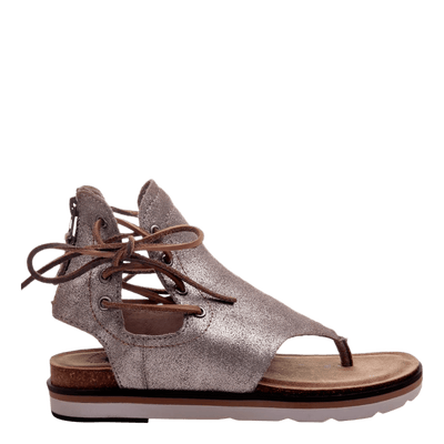Womens sandal locate in grey silver side view