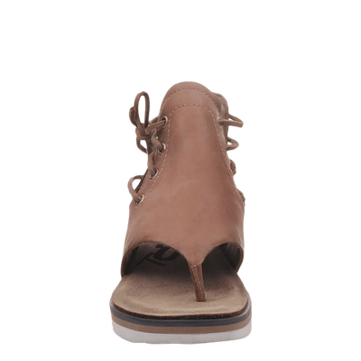 Womens sandal locate in new brown front view