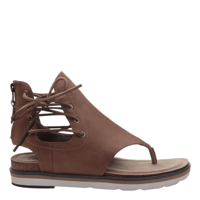 Womens sandal locate in new brown side view