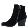 Womens ankle boot long rider in black suede inside view