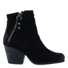 Womens ankle boot long rider in black suede side view