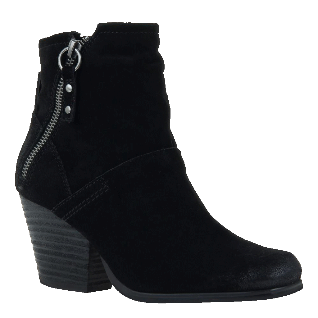 Womens ankle boot long rider in black suede