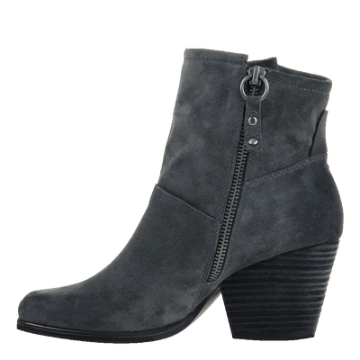 Womens ankle boot long rider in dark grey inside view