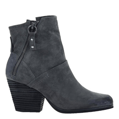 Womens ankle boot long rider in dark grey side view