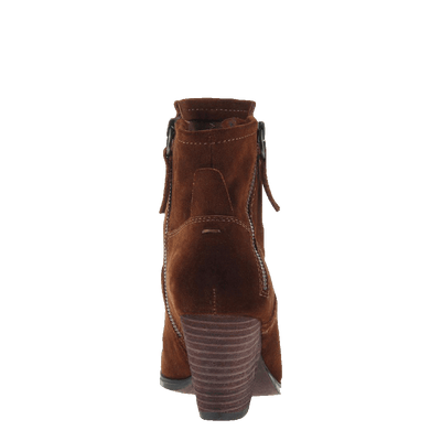 Womens ankle boot long rider in new tan back view