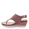 Womens wedge sandal meditate in salmon inside view
