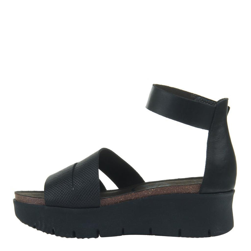 MONTAUK in BLACK Wedge Sandals