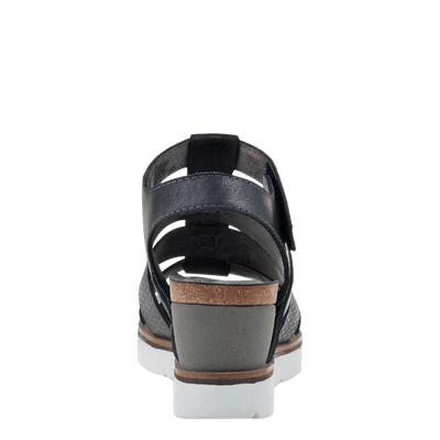 Womens wedge sandal new moon in new black back view