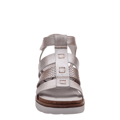 New Moon SilverWedge sandal front