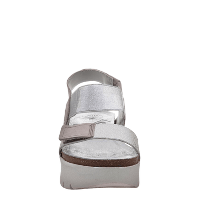 Womens wedge sandal nova in new silver front view
