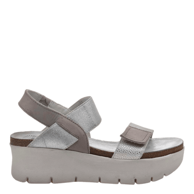 Womens wedge sandal nova in new silver side view