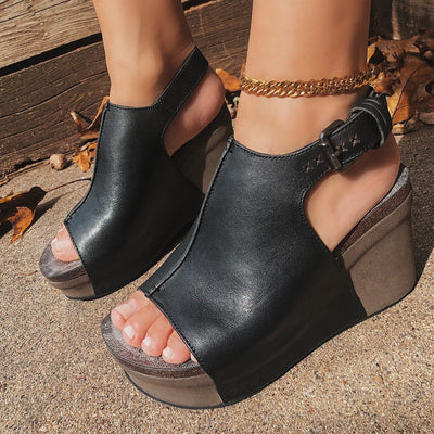 JAUNT in BLACK Wedge Sandals