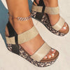 BUSHNELL in BEIGE LEOPARD PRINT Wedge Sandals