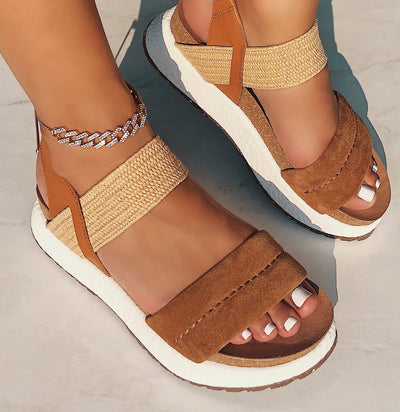 LIBRA in ALMOND Wedge Sandals