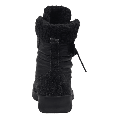 Womens cold weather boot pioneer in black back view