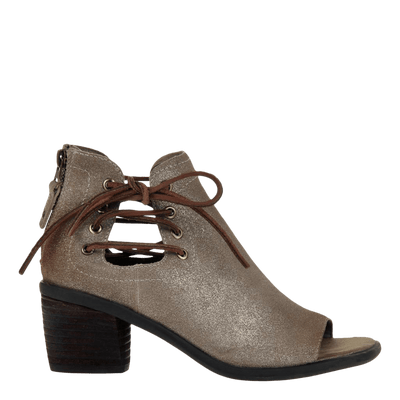 Womens heeled sandal prairie in taupe side view