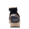 OTBT wedge sandal reflector in black back view