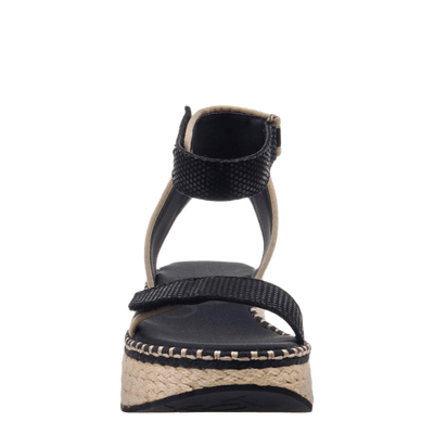 OTBT wedge sandal reflector in black front view