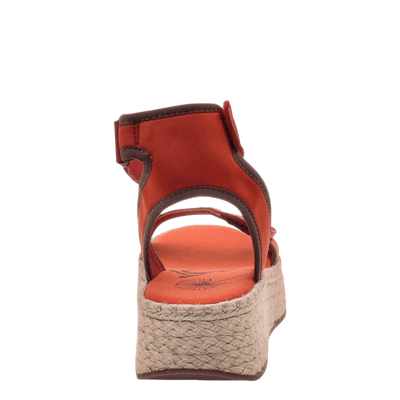 OTBT wedge sandal reflector in cinnamon back view