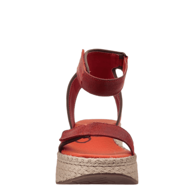OTBT wedge sandal reflector in cinnamon front view