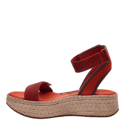 OTBT wedge sandal reflector in cinnamon inside view