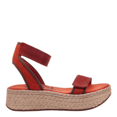 OTBT wedge sandal reflector in cinnamon side view