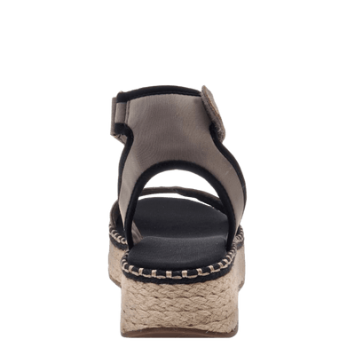 OTBT wedge sandal reflector in stone back view