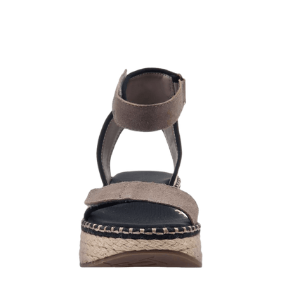 OTBT wedge sandal reflector in stone front view