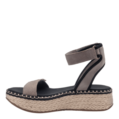 OTBT wedge sandal reflector in stone inside