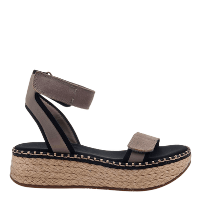 OTBT wedge sandal reflector in stone side view