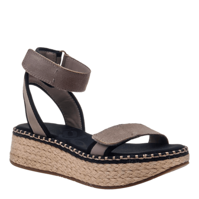 OTBT wedge sandal reflector in stone