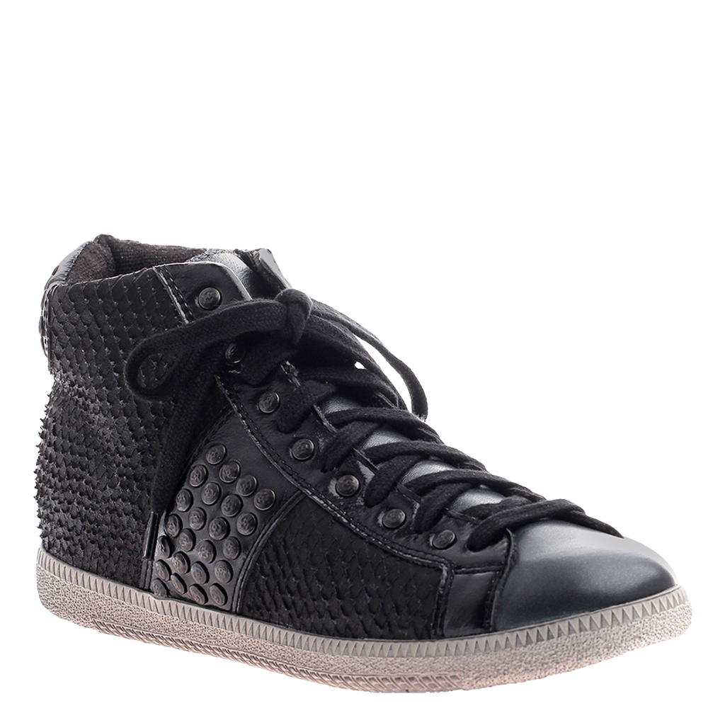 OTBT, Samsula 2 Black, Combat sneaker with laces and studs