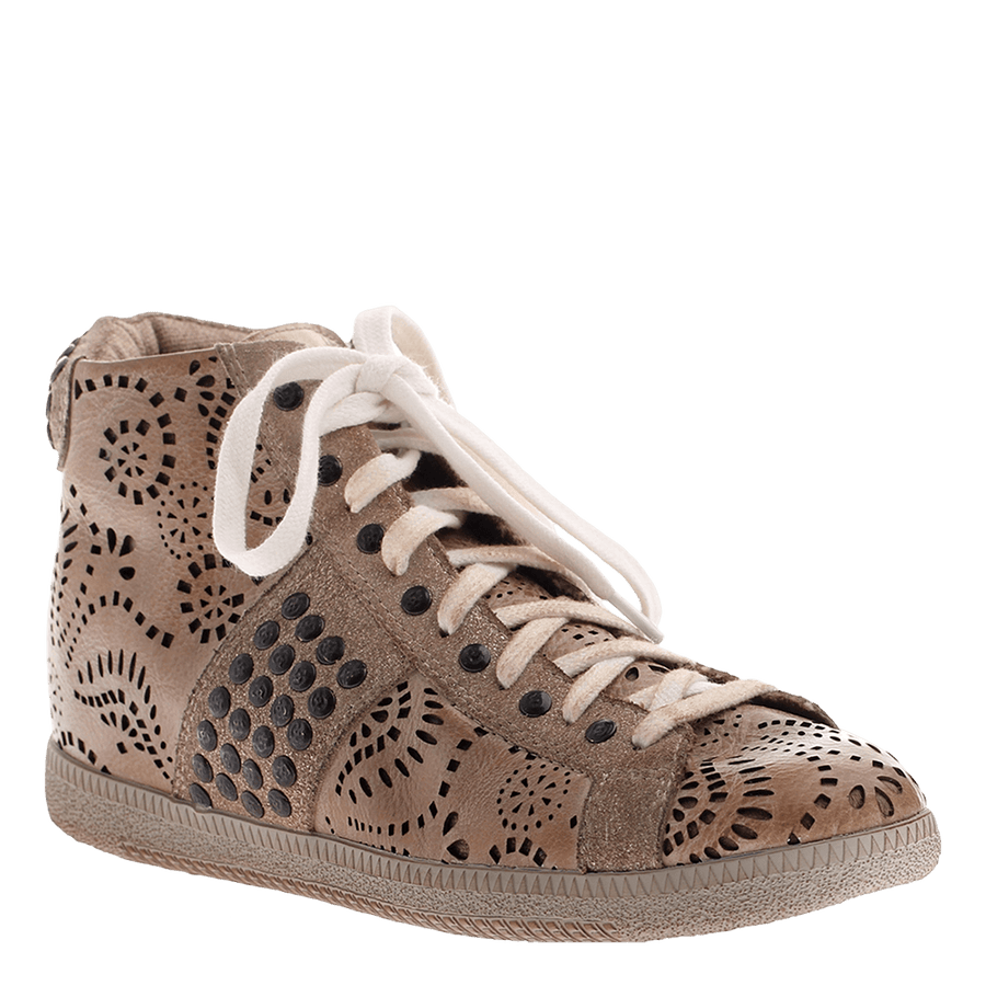 OTBT, Samsula, Mid Taupe, Combat sneaker with design and studs