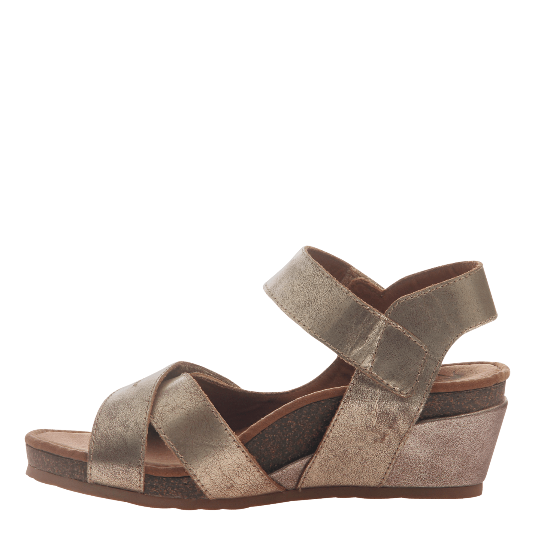 28b036f83596 Womens wedge sandal Sandey in Gold inside view