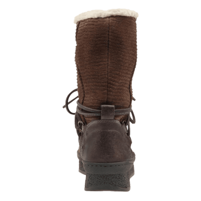 Womens cold weather boot slope in acorn back view