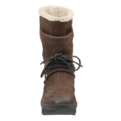 Womens cold weather boot slope in acorn front view