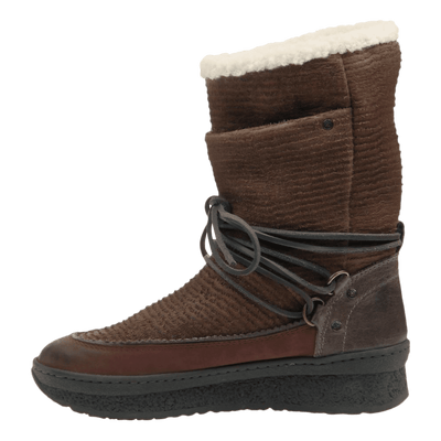 Womens cold weather boot slope in acorn inside view