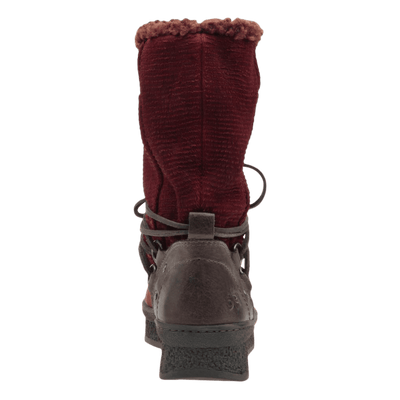 Womens cold weather boot slope in copper back view