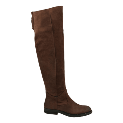 Womens over the knee boot steerage in medium brown side view