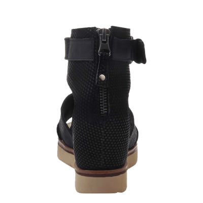 Womens wedge sandal teamwork in black back