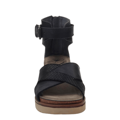 Womens wedge sandal teamwork in black front