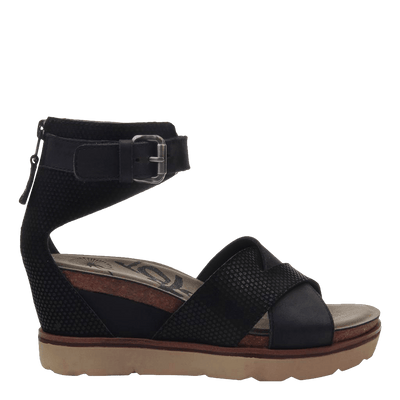 Womens wedge sandal teamwork in black side
