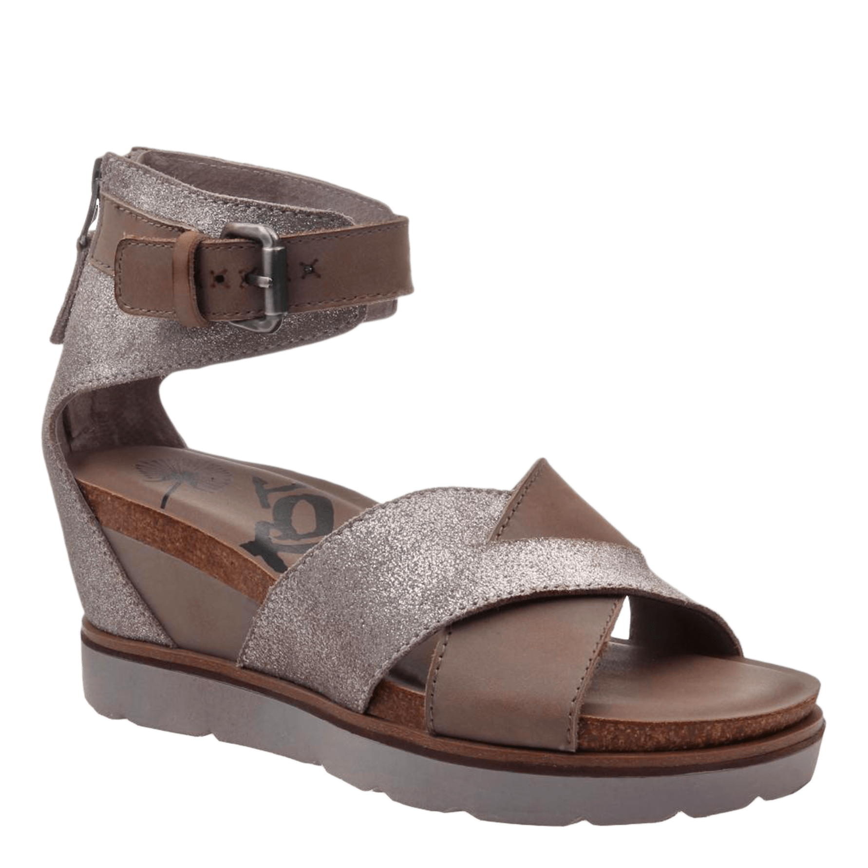 4ec8084acdf45 Teamwork in Grey Silver Wedge Sandals | Women's Shoes by OTBT