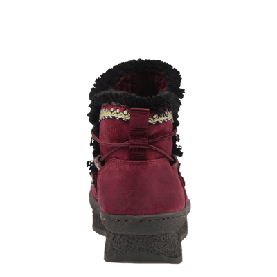 Womens cold weather boot Terreno in cherry back view