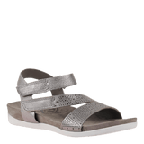 THEODORA in DARK SILVER Flat Sandals