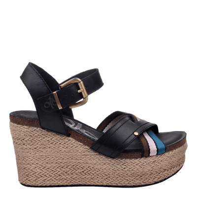 Womens wedge topsail new black side