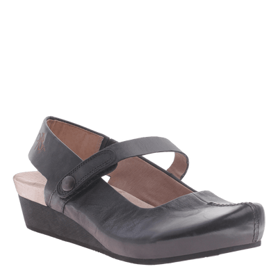 Springfield women's wedge in black leather