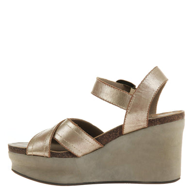 Bee Cave Womens Wedge in Gold left view